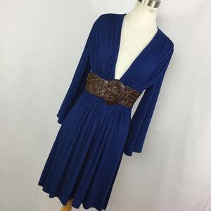 Sky Brand M Medium Dress Navy BLue Brown Belt